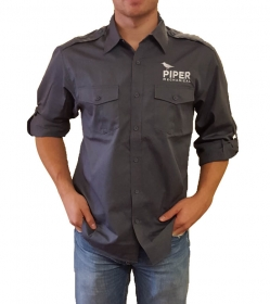 Gray Stain Resistant Roll Sleeve Button Down